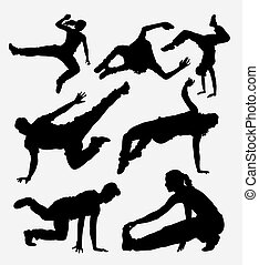 Parkour dancer sport silhouette