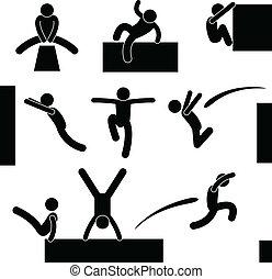 parkour, homem saltando, escalando, pulo