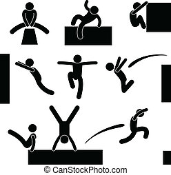 A set of pictograms representing man in parkour action.