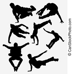 Parkour martial art silhouette