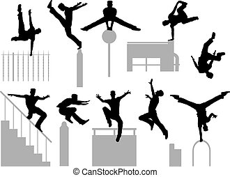 Parkour poses - Set of editable vector silhouettes of a man...