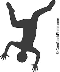 Parkour trick people extreme sport cartoon silhouette.