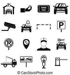 parkování, dát, ikona, jednoduchý, móda