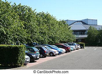 parkplatz, und, lowrise, bürogebäude