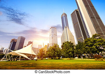 Park and modern building in Shanghai, China
