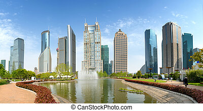 Parks and modern buildings, Shanghai, China, in 2015.