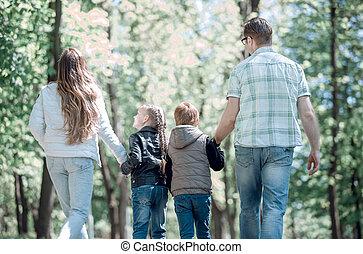 park.t, parents, enfants, promenade