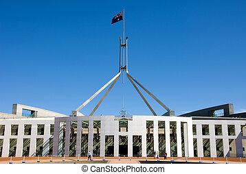 parlament, épület, canberra, ausztrália