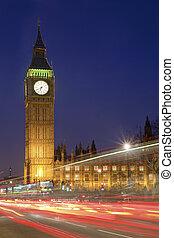 parlament, ben, cielna, domy, londyn, noc