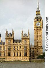 parlament, ben, elizabeth, cielna, domy, wieża, london.