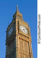 parlament, ben, zegar, cielna, domy, londyn, wieża, uk.