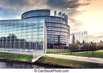 parlament, budowa., strasburg, europejczyk, francja