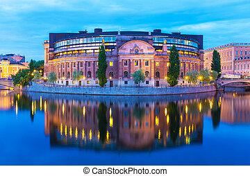 parlament, dom, w, sztokholm, szwecja