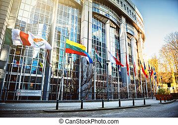 parlament, falować, bandery, przód, brukselski, gmach, europejczyk