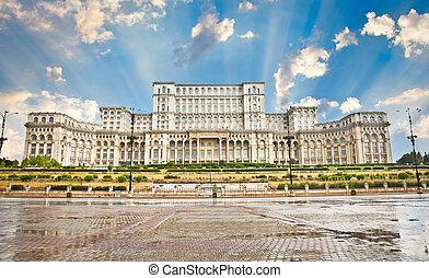 parlament- gebäude, in, bucharest., romania.