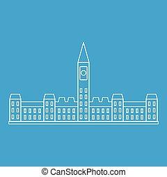 parlament- gebäude, in, ottawa, ikone, grobdarstellung, stil