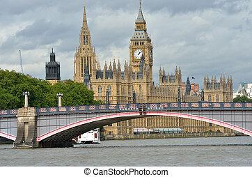 parlament, z, lambeth most, w, pierwszy plan