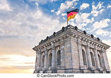 parlamento, alemão, bandeira nacional, alemanha, berlim