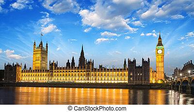 parlamento,  Ben, anoitecer, casa,  -, internacional, Inglaterra, Londres, Reino Unido, grande, marco, Nuvens, Rio,  thames