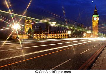 parlamento,  Ben, casa, Reino Unido, grande, noturna, Londres