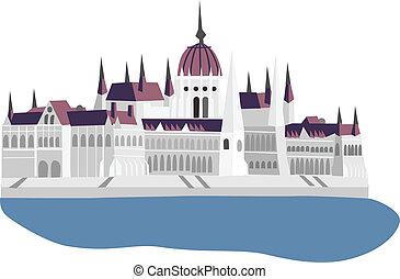 parlamento, budapest, vector, ilustración