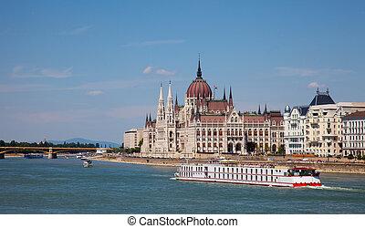 parlamento, dia ensolarado, húngaro