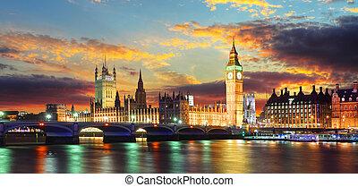 parlamento, grande, -, ben, casas, reino unido, londres