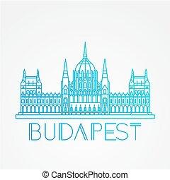 parlamento, húngaro, símbolo, budapest, hungary., edificio.