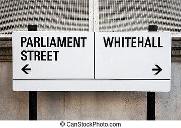 parlamento, whitehall, señal, calle, reino unido, londres
