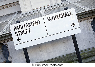 parlamento, whitehall, señal, westminster, calle, londres