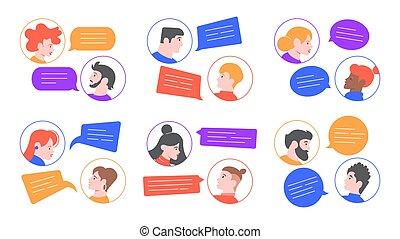 parlante, dialoghi, persone., discorso, avatars, ciarlare, ...