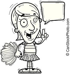parlare, anziano, cartone animato, cheerleader
