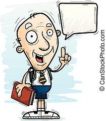 parlare, anziano, cartone animato, studente, cittadino