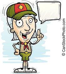parlare, anziano, esploratore, cartone animato, cittadino