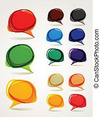 parlare, astratto, bolle, hand-drawn