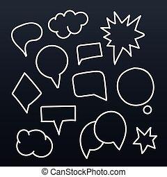 parlare, astratto, set, bolle, hand-drawn