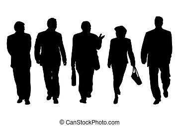 parlare, camminare, gruppo, persone affari