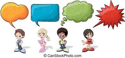 parlare, cartone animato, bambini