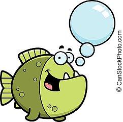 parlare, cartone animato, piranha