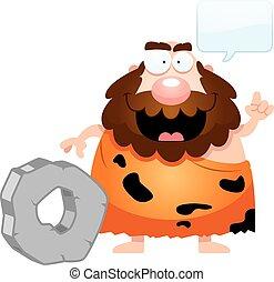 parlare, caveman, cartone animato