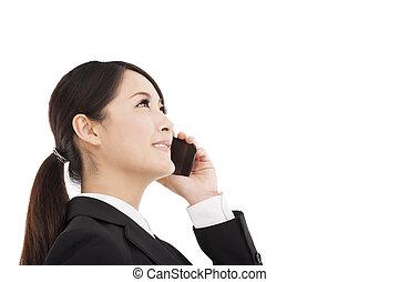 parlare, cellphone, felice, donna d'affari