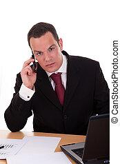 parlare, colpo., isolato, fondo., regolazione, studio, telefono, scrivania, uomo affari, bianco