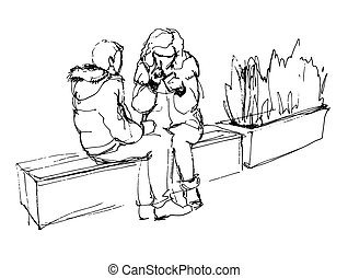 parlare, coppia, panca, mentre, seduta