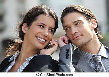 parlare, coppia, telefono