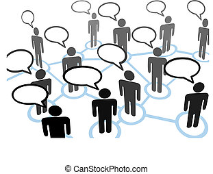 parlare, everybodys, bolla, rete, comunicazione, discorso