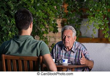 parlare, giardino, nipote, nonno