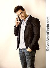 parlare, giovane, telefono cellulare, studio, uomo, bello
