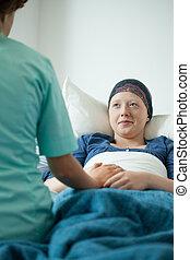 parlare, infermiera, donna, cancro
