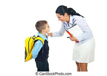 parlare, insegnante, scolaro