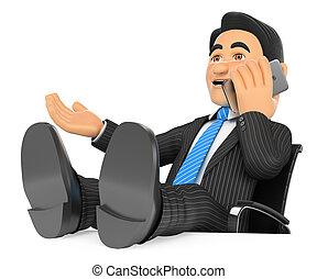 parlare, mobile, su, piedi, telefono, uomo affari, 3d